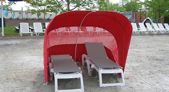 Covered lounger on Quassy Beach